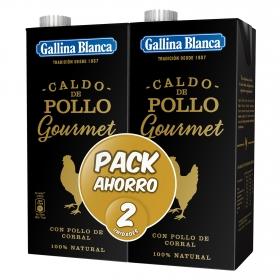 Caldo de pollo gourmet Gallina Blanca pack de 2 unidades de 1 l.