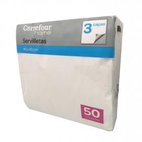 Servilletas blancas 3 capas de celulosa 20x7,5cm. Carrefour Home 50 ud.