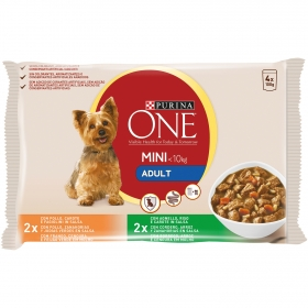 Purina ONE MINI en Salsa Comida Húmeda para Perro Adulto Pollo y Cordero 4x100g