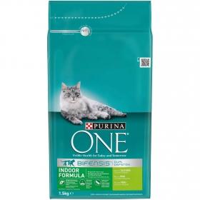Purina ONE Bifensis Pienso para Gato de Interior Pavo y Cereales 1,5Kg