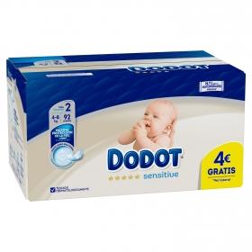 Pañales recién nacido T2 (4-8 kg.) Dodot Sensitive 92 ud.