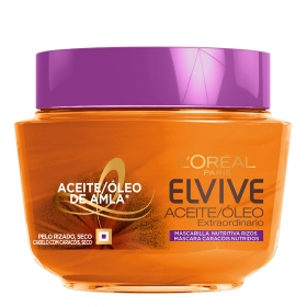 Mascarilla capilar Aceite Extraordinario para cabellos rizados, secos L'Oréal Elvive 300 ml.