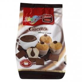 Magdalenas Muffins rellenas de cacao