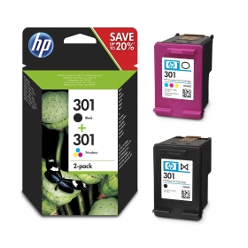 Pack cartuchos de tinta HP301 negro + color