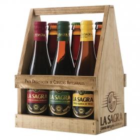 Cerveza artesana La Sagra y Burro de Sancho cesta de madera 6 botellas