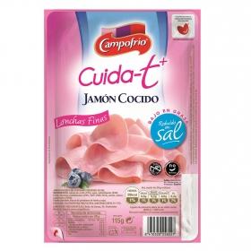 Jamón cocido finas lonchas bajo en grasa Campofrío Cuida-t + 115 g.