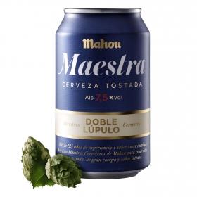 Cerveza Mahou Maestra tostada doble lúpulo lata 33 cl.