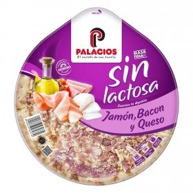 Pizza jamón, bacón y queso Sin lactosa