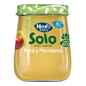 Tarrito de pera y manzana desde 4 meses ecológico Hero Baby Solo 120 g.
