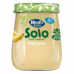 Tarrito de plátano desde 4 meses ecológico Hero Baby Solo 120 g.