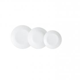 Vajilla Redonda de Vidrio Opal Zelie 18pz - Blanco