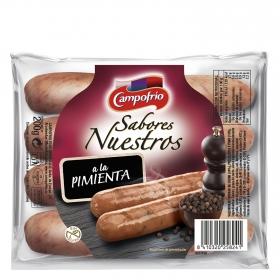 Salchichas cocida de cerdo, pavo y pollo a la pimienta Campofrío- Sabores Nuestros 200 g.