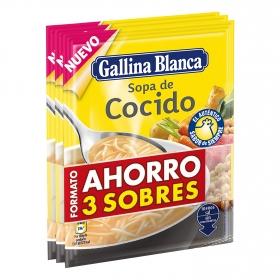 Sopa de cocido Gallina Blanca pack de 3 sobres de 77 g.