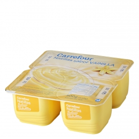Natillas de vainilla Carrefour pack de 4 unidades de 125 g.