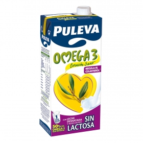 Bebida láctea desnatada Omega Puleva 3 sin lactosa brik 1 l.