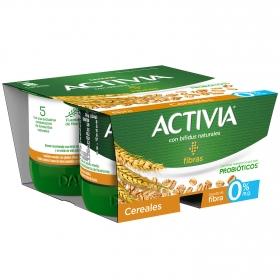 Yogur bífidus desnatado de fibras con cereales Danone Activia pack de 4 unidades de 120 g.