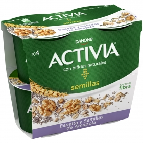 Yogur bífidus con espelta y semillas de amapola Danone Activia pack de 4 unidades de 120 g.
