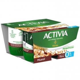 Yogur bífidus desnatado de fibras con muesli Danone Activia pack de 4 unidades de 120 g.