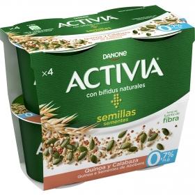 Yogur bífidus desnatado con quinoa y semillas de calabaza Danone Activia pack de 4 unidades de 120 g.