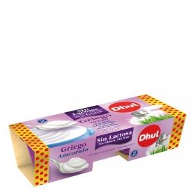 Yogur griego azucarado Dhul sin lactosa pack de 2 unidades de 125 g.