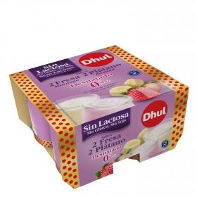 Yogur semidesnatado de fresa y de plátano Dhul sin lactosa pack de 4 unidades de 120 g.