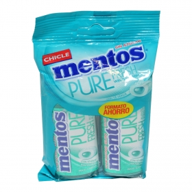 Chicles con té verde Winter Green Pure Fresh Mentos 2 paquetes de 30 g.