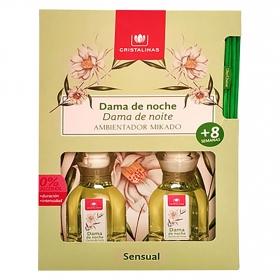 Ambientador miikado dama de noche Cristalinas pack de 2 unidades de 45 ml.