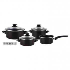 Bateria de Cocina Clásica de Acero Kenia 7 piezas Negro