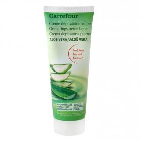 Crema depilatoria con aloe vera pieles normales Carrefour 200 ml.
