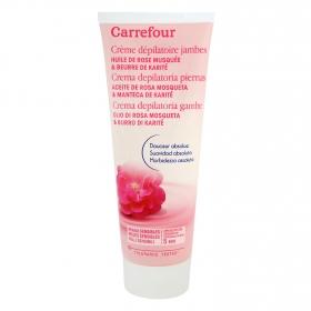 Crema depilatoria con aceite de rosa mosqueta y manteca de karité pieles sensibles Carrefour 200 ml.