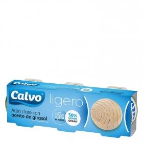 Atún claro con aceite de girasol Calvo pack de 3 unidades de 56 g.