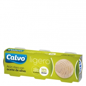 Atún claro con aceite de oliva Calvo pack de 3 unidades de 56 g.