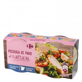 Pechuga de pavo al natural Carrefour pack de 2 unidades de 42 g.