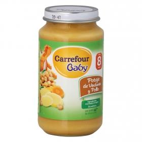 Tarrito de potaje de verduras y pollo desde 8 meses Carrefour Baby 250 g.