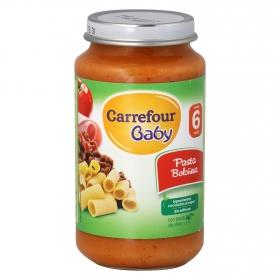 Tarrito de pasta boloñesa desde 6 meses Carrefour Baby 250 g.