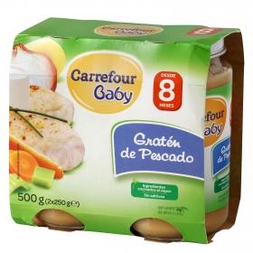 Tarrito de gratén de pescado desde 8 meses Carrefour Baby pack de 2 unidades de 250 g.