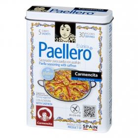 Sazonador para paella con azafrán Sabater sin gluten pack de 5 sobres de 10 g.