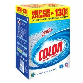 Detergente en polvo para blancos y colores Colon 130 cacitos.