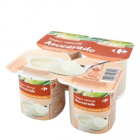 Yogur con azúcar de caña natural Carrefour pack de 4 unidades de 125 g.