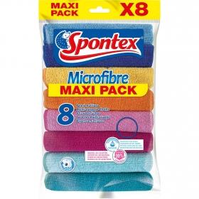 Pack 8 Bayetas Multiuso Microfibre Spontex  - Varios colores