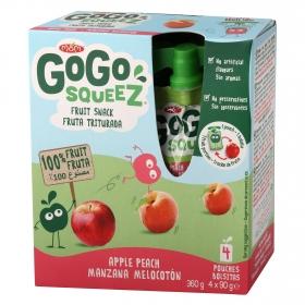 Preparado de manzana y melocotón Gogosqueez pack de 4 unidades de 90 g.