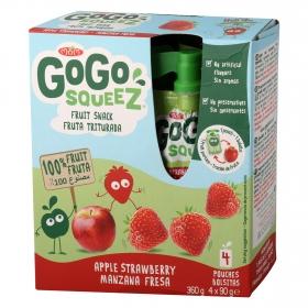 Preparado de manzana y fresa Gogosqueez Pack 4x90 g.