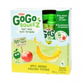 Fruta triturada mánzana y plátano Gogosqueez pack de 4 unidades de 90 g.
