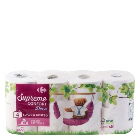 Papel higienico suave y grueso supreme confort Deco Carrefour 8 rollos