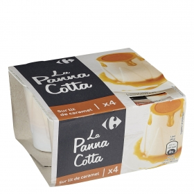 Panna cotta al caramelo Carrefour pack de 4 unidades de 90 g.