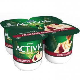 Yogur bífidus cremoso con manzana y miel Danone Activia pack de 4 unidades de 120 g.