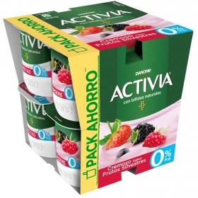 Yogur bífidus desnatado cremoso de frutos silvestres Danone Activia pack de 8 unidades de 120 g.