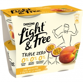 Yogur Light & Free con melocotón y fruta de la pasión