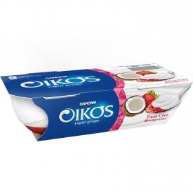 Yogur griego fresa y coco