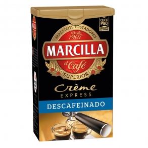 Café molido descafeinado créme express Marcilla 250 g.